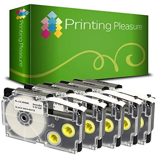 5x Schriftband kompatibel für Casio XR-9WE Schwarz auf Weiß (9mm x 8m) für CasioKL-60 70E 100 100E 120 200 200E 300 750 780 820 2000 7000 7200 7400 8100 8200 P1000 C500 L300