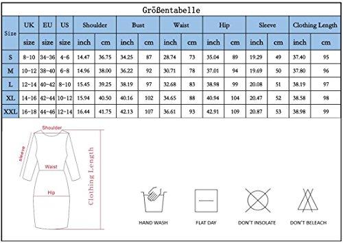 Yidarton Damen Paillettenkleid Langarm Rundhals Backless Partykleid Ballkleid Abend Minikleid (Blau, X-Large) - 3