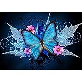 Moeavan 5D DIY Diamant Malerei, Blue Butterfly Crystal Strass Stickerei Kreuzstich Kunst Handwerk Leinwand-Wand-Dekor