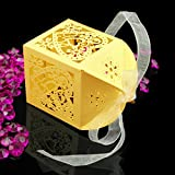 BITFLY 50pcs Love Heart Hollow Out Pattern Candy Boxes Gift Bags Baby Shower Wedding Favors Party Decoration - Gold - BITFLY - amazon.co.uk