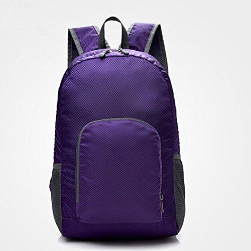 Longra Solido colore di moda unisex nylon materiale superiore pieghevole esterno impermeabile zaino doppia spalla Viola