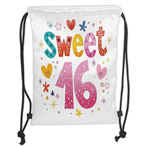 OQUYCZ Drawstring Sack Backpacks Bags,16th Birthday Decorations,Cute Sweet Sixteen Hearts Stars Flowers Unique Girls Joy Design,Multicolor Soft Satin,5 Liter Capacity,Adjustable String Closure (Sweet 16 Neon)