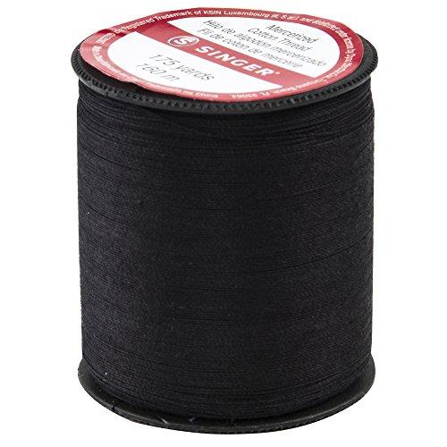 Singer merscerizierte Baumwolle Gewinde 175Yards-Black Größe 50 -