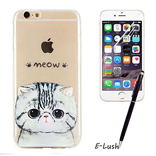 iPhone 6 Hülle, iPhone 6s Hülle, E-Lush High Heel Muster TPU Hülle für Apple iPhone 6 6s(4.7 zoll) [Kratzfeste, Scratch-Resistant] Weiche Flexible Silikon Handyhülle Clear Transparent Tasche Ultra Dün Katze
