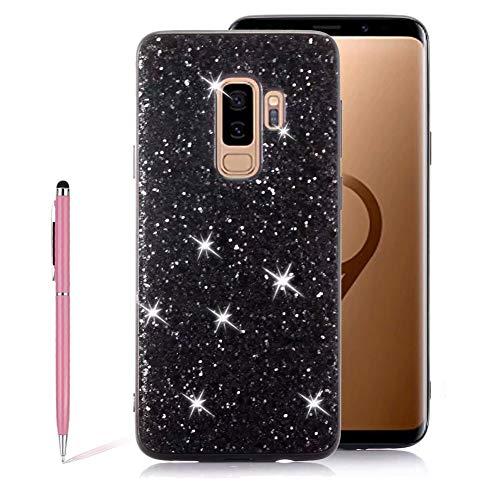 SKYXD Luxe Paillettes Diamant Etoile Brillante Bling Glitter PC Plastic Hard Case pour Samsung Galaxy S9, Flexible TPU électrolytique Anti-Scratch Anti-Rayures Défenseur Antichoc Coque Housse – Noir