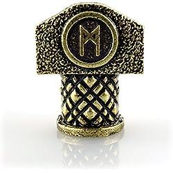 Cuenta con runa Mannaz en martillo de Thor, metal dorado