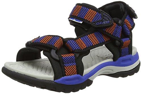 Geox j borealis f, sandali punta aperta bambino, blu (orange/royal), 32 eu
