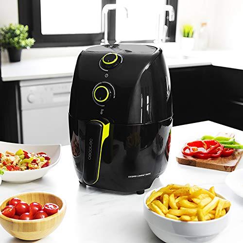 Cecotec Freidora Dietética sin Aceite Cecofry Co Capacidad para 400gr de Patatas. Temperatura 200ºC Tiempo Ajustable hasta 30 min. Incluye recetario Negro