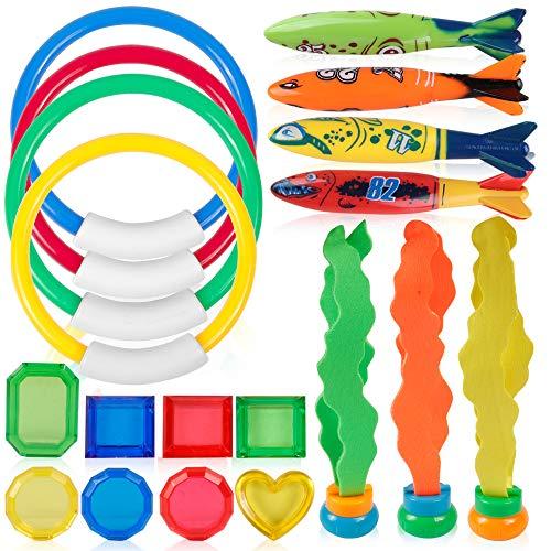 Coogam Tauchen Spielzeug 19PCS Set 4 Tauchring, 4 Toypedo Bandit, 3 Stringy Octopu, 8 Juwel Edelstein für Pool Sinking Schwimmen Unterwasser-Training Spielen Wasser Geschenk