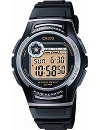 CASIO Collection W-213-9AVES - Reloj de caballero de cuarzo, correa de resina color negro (con cronómetro, alarma, luz)