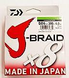 Daiwa J-Braid 8 Braid 0.06mm, 4,0kg/9,0lbs 300m chartreuse, rund geflochtene...
