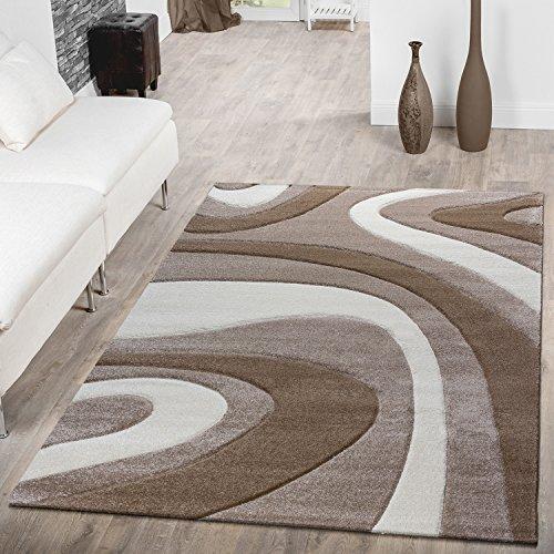 Designer Teppich Modern Kurzflor Mallorca mit Wellen Muster in Beige Creme Braun, Größe:240x340 cm