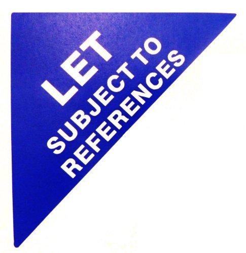 Etiquetas Para Viviendas En Venta , texto: LET SUJETO A REFERENCIAS , Azul , Triángulo Grande , Inmuebles & Alquileres Agente pegatinas autoadhesivas