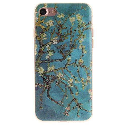 Nancen Apple iPhone 7 / 8 (4,7 Zoll) Hülle, Ultra Dünn Spezielle Weiche TPU Full Silikon Cover Case Handyhülle Schutzhülle Tasche [Grüne Augen Tiger] Plum Blume