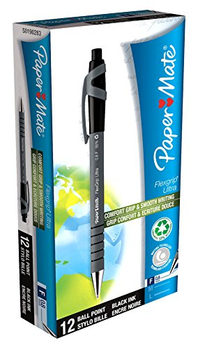 paper-mate-flexgrip-ultra-retractable-ballpoint-pens-fine-point-pack-of-12-black-ink