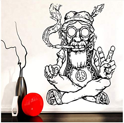 Lzyx Rauchen Unkraut Frieden Wandaufkleber Abnehmbare Vinyl Wandaufkleber Hippie In Brille Symbol Ethnic Decor Wandtattoo75X84Cm