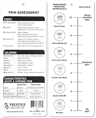Pain Assessment Card; Wong-Baker & Colderra Scales For Paramedics