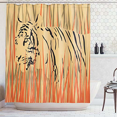 ng, Tiger in Den Büschen Tarnung Fleischfresser Raubtier Feine Afrika Safari Muster Kunst Druck, Blickdicht aus Stoff inkl. 12 Ringen Umweltfreundlich Waschbar, 175 X 200 cm ()