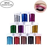 Hilai 6 colori glitter polvere set Set di glitter in colori assortiti et di polvere glitter per unghie adatti per attività per bambini lavori creativi biglietti e decorazioni