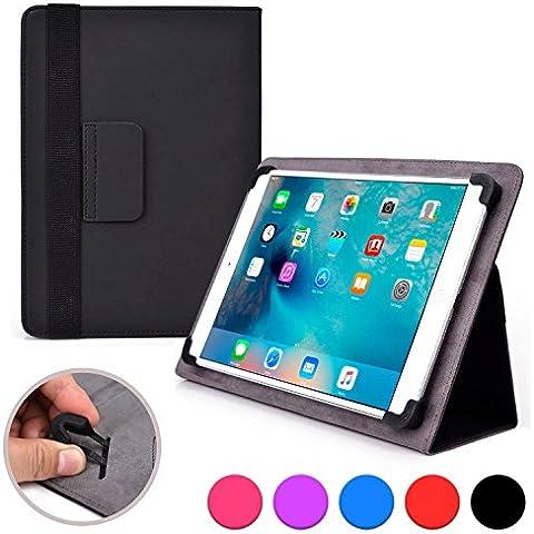 Funda tipo folio Infinite Elite de Cooper Cases(TM) para tablets de Alcatel One Touch Evo 8 HD / Pop 10 en Negro (Compatibilidad universal, soporte integrado para visionado, cierre con elástico)