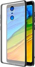 Amazon Brand - Solimo Redmi 5 Mobile Cover (Hard Back & Black Flexible Bumper), Transparent