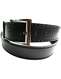 "Mens Womens Strong Black Leather Belt Gun Metal Buckle 1.5"" Casual Formal Jeans"