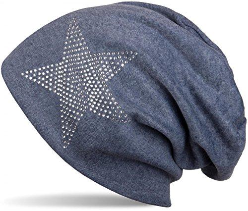 styleBREAKER warme klassische Unisex Beanie Mütze mit Stern Strass Applikation 04024023, Farbe:Jeansblau