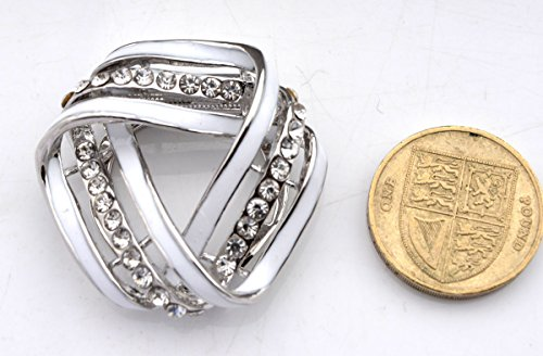 Rhodium Plated Mobius Strip Enamel Scarf Ring Clip Brooch Pin with Crystals (In Organza Pouch). eKpbQ