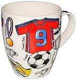 alles-meine GmbH 1 Stück _ XL Henkeltasse / Kaffeetasse - Jumbo -  Fussball - Trikot blau & rot  - groß - 500 ml - Porzellan / Keramik - Teetasse - Trinktasse mit Henkel - F..