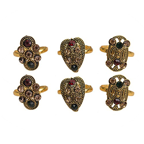 Taj Pearl 3 Pairs Golden Oxidized Toe Rings