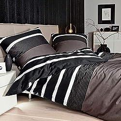 Janine Feinbiber-Bettwäsche 155 x 220 cm + 80 x 80 cm Nougat-schwarz