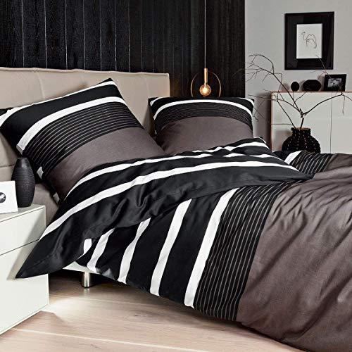 Janine Feinbiber-Bettwäsche 155 x 200 cm + 80 x 80 cm Nougat-schwarz