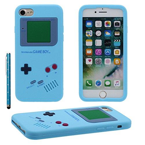 iPhone 7 Plus Coque de protection Case Joli Couleur 3D Console de jeu portable Forme Fine Poids léger Très doux Silicone Étui pour Apple iPhone 7 Plus 5.5 inch X 1 stylet bleu