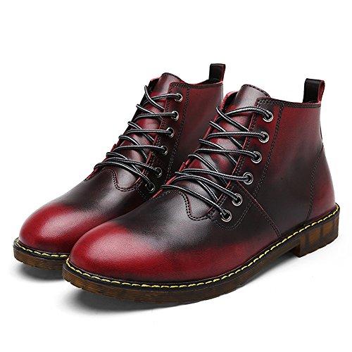 COOLCEPT Unisex Chukka Schnurung Stiefel Couple Schuhe Warm Wine Red