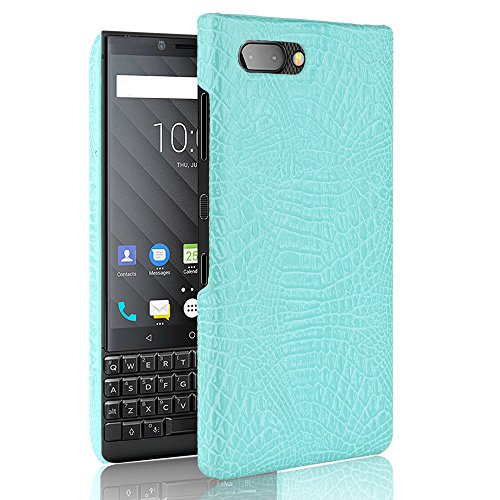 SHENYUAN-Fashion case BlackBerry Key2 Hülle, Classic Krokoprägung [Ultra] PU Leder Kratzfest PC Schutz Hard Case Cover für BlackBerry 2 Key2 / Keytwo (Farbe : Grün) -