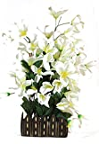 Parishi & W Artificial Mix flower plant glowing arrangement in wooden Pot