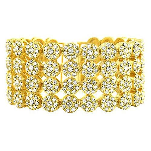 Damen und Herren Tennis-Armband Gold 4-reihig runde Steine Brillantschliff Zirkonia, metall, gold, Einheitsgröße (David Yurman Ring Damen)