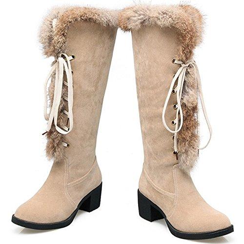 TAOFFEN Damen Mode Blockabsatz Schnee Stiefel Lacing lange Stiefel Aprikose
