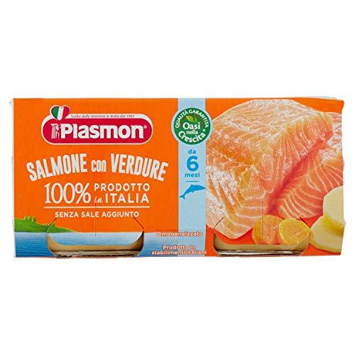Plasmon Alimento per lInfanzia Oasi nella Crescita con Salmone e Verdure 2 vasetti da 80 gr