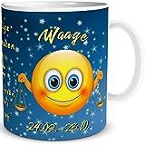 TRIOSK Tasse Smiley Sternzeichen lustiges Geschenk Geburtstag Frauen Männer Freunde Kollegen (Sternzeichen Waage)