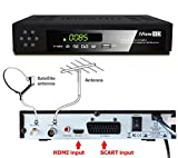 Nuevo Combinado Receptor TDT HD + Receptor satelital de TV HD Full HD TV Digital Terrestre receptor HD + España del satélite HD Decodificador Set Top Box sintonizador y Multi Digi Programa de TV registrador 1080P convertidor de la TV analógica a la televisión digital, reproductor multimedia HDMI y conexiones Scart DVB-T2 + DVB-S2 satélite ASTRA España 19:20 ° E & Hispasat 30W + programa grabador USB Free to Air FTA DVB-T / T2, DVB-S / S2 - (iView HD) (3 en 1 compacto) Combi Modelo: C-HD65)