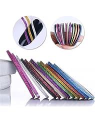 Born Pretty 12 Rolls 2mm Matte Glitter Nail Striping Tape Line Multi Color Styling Tool Sticker Decal