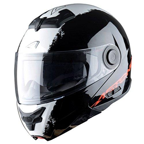 Astone Helmets, Casco modular, color Negro (Stripes Noir), talla XL