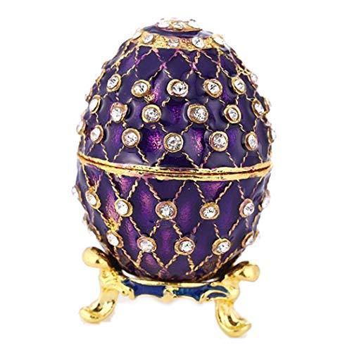HAOCHIDIAN Handbemalte Vintage-Stil emailliert Faberge Ei gemeißelt Figur dekorative Zink-Legierung Schmuck Schmuckstück Box tragbaren Schmuck Veranstalter Reise Aufbewahrungskoffer -