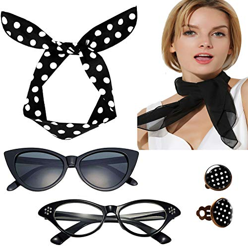 Fairycece Damen 50-accessoires schal stirnband cat eye brillen clip auf ohrringe set One Size Schwarz