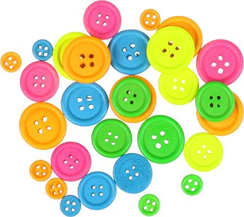 i-mondi® 30 Holzknöpfe, Knöpfe aus Holz in bunten Neon-Farben 4-Löcher sortiert, gemischte Größen Ø: 7, 18 und 22 mm für (Kostüme Für It Kinder Do Yourself)