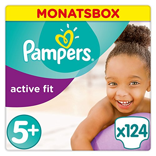 Pampers Active Fit Windeln,Gr.5+, Junior Plus 13-25kg, Monatsbox, 1er Pack (1 x 124 Stück)