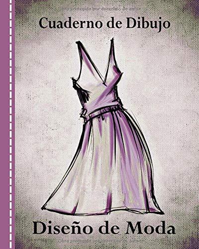 Cuaderno de Dibujo, Diseño de Moda: Libro de Bocetos Para Diseñadora Principiantes, Vestido Morado - Lapiz Dibujar Para