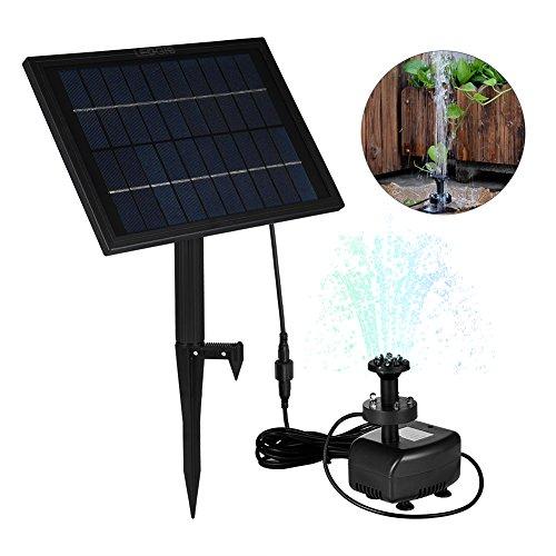 Akku-wasser-brunnen (LEDGLE 5W Solarbrunnenpumpe mit Akku, Garten Wasserpumpe mit buntem Licht, effiziente Sonnenkollektor, 8 Düsen, geeignet für Garten Teich und Patio)