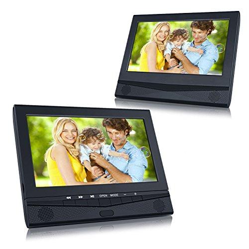 DVD Player Auto tragbarer Fernseher mit 2 10,1 Zoll Monitore für Mama Kinder hinter Kopfstützen mit TFT Display LCD Bildschirm zwei Halterung unterstützt USB SD für Flug Urlaub Camping Zuhause Schwarz